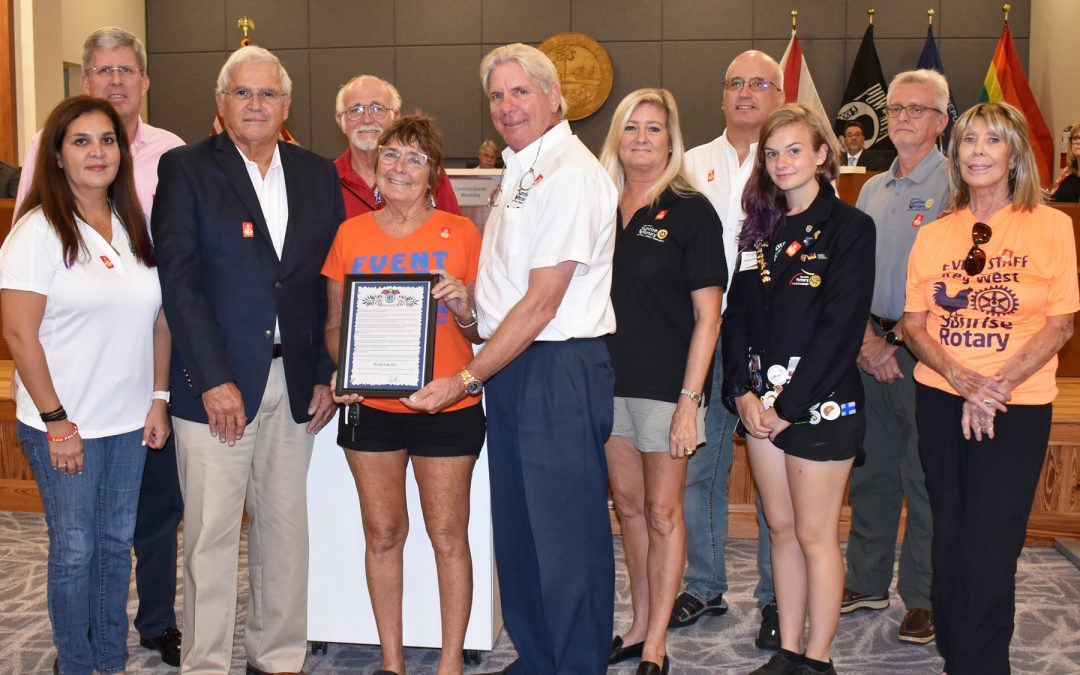 Key West Sunrise Rotary Club in the Conch Republic accepts World Polio Day Proclamation from Mayor Cates on Oct 16, 2018 declaring October 24, 2018 World Polio Day in Key West.